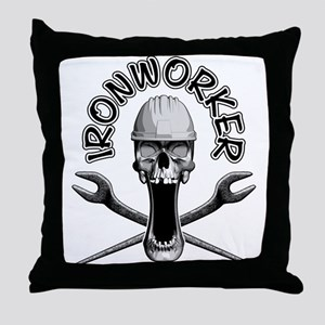 Ironworker Skull Throw Pillow
