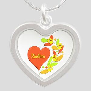 Sheltie Heart Silver Heart Necklace