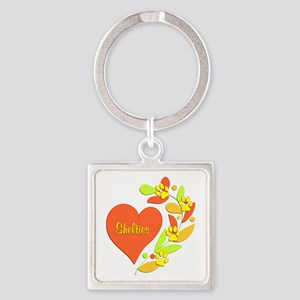 Sheltie Heart Square Keychain