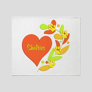 Sheltie Heart Throw Blanket