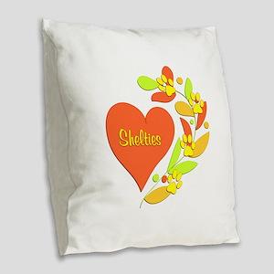 Sheltie Heart Burlap Throw Pillow