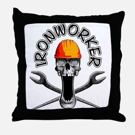 Ironworker Skull 3 Throw Pillow