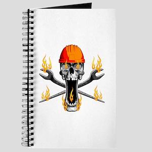 Flaming Ironworker Skull Journal