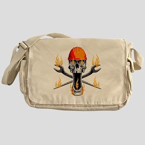Flaming Ironworker Skull Messenger Bag