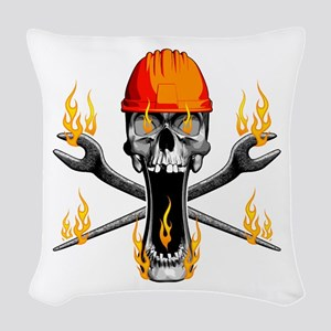 Flaming Ironworker Skull Woven Throw Pillow