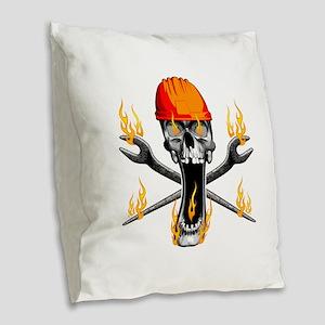 Flaming Ironworker Skull Burlap Throw Pillow