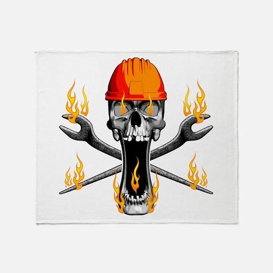 Flaming Ironworker Skull Throw Blanket