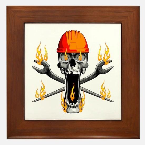 Flaming Ironworker Skull Framed Tile