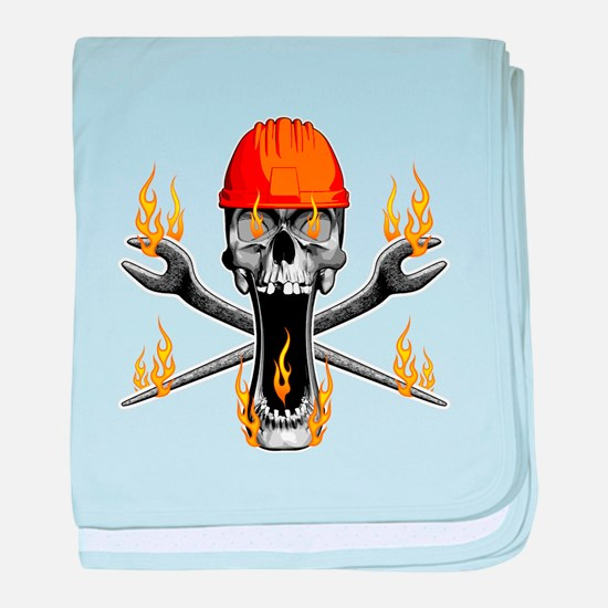 Flaming Ironworker Skull baby blanket