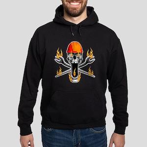 Flaming Ironworker Skull Hoodie