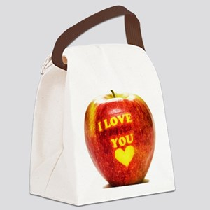 Apple I Love You Canvas Lunch Bag