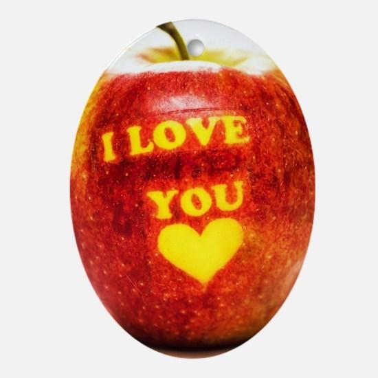 Apple I Love You Oval Ornament