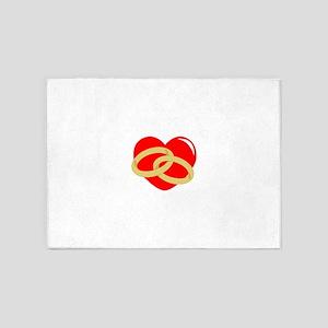 WEDDING RINGS ON HEART 5'x7'Area Rug
