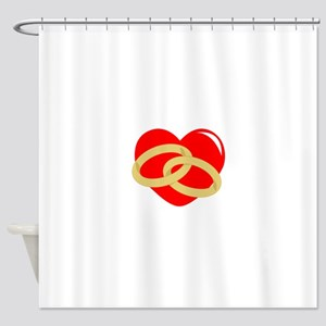 WEDDING RINGS ON HEART Shower Curtain