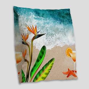Sex on the Beach Burlap Throw Pillow