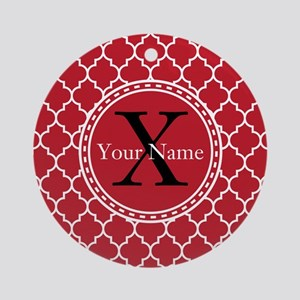 Custom Name And Initial Red Quatrefoil Ornament (R