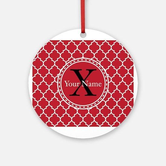 Custom Name And Initial Red Quatrefoil Ornament (R