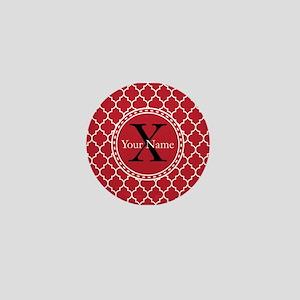 Custom Name And Initial Red Quatrefoil Mini Button