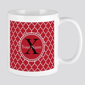 Custom Name And Initial Red Quatrefoil Mugs