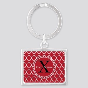 Custom Name And Initial Red Quatrefoil Keychains