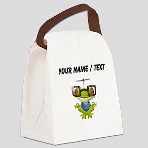 Custom Yoga Frog In Glasses Canvas Lunch Bag