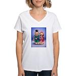 Bear Carolers Women's V-Neck T-Shirt