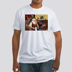Santa's Border Collie Fitted T-Shirt