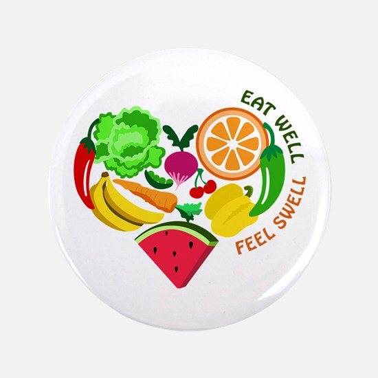 "eat well feel swell 3.5"" Button"