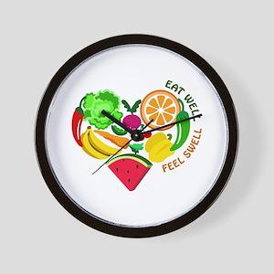 eat well feel swell Wall Clock