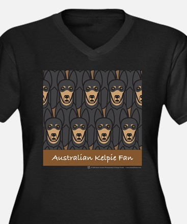 Kelpie Fan Women's Plus Size V-Neck Dark T-Shirt