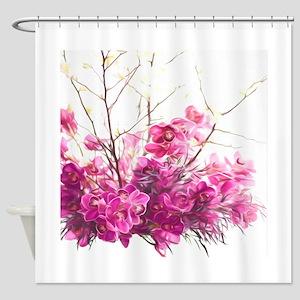 Serene Pink Phalaenopsis Orchids Shower Curtain
