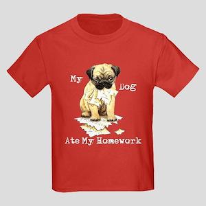Pug Ate Homework Kids Dark T-Shirt