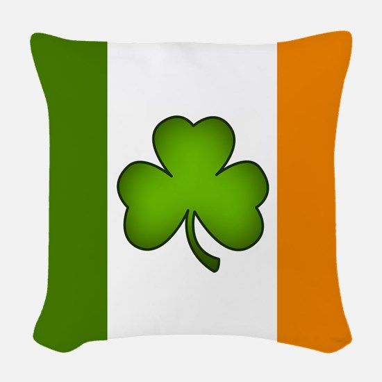 Irish Flag Shamrock Woven Throw Pillow