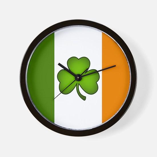 Irish Flag Shamrock Wall Clock