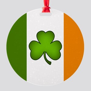 Irish Flag Shamrock Round Ornament