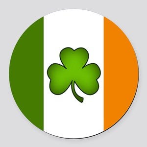 Irish Flag Shamrock Round Car Magnet