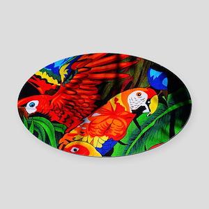 Parrot Paradise Oval Car Magnet