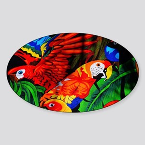Parrot Paradise Sticker (Oval)