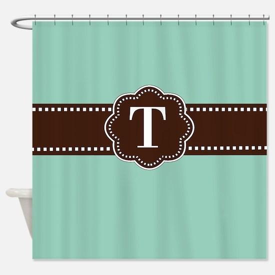 Mint Brown Monogram Shower Curtain