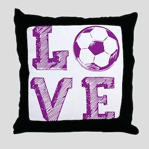 Girly Love Soccer Throw Pillow