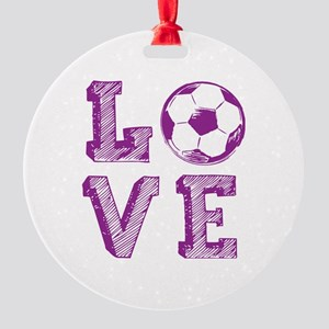 Girly Love Soccer Round Ornament