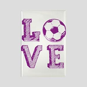 Girly Love Soccer Rectangle Magnet