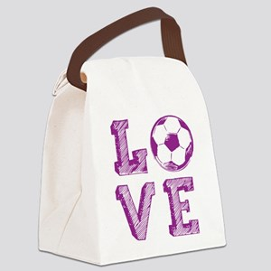 Girly Love Soccer Canvas Lunch Bag