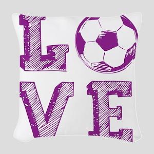 Girly Love Soccer Woven Throw Pillow