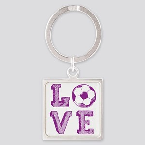 Girly Love Soccer Square Keychain