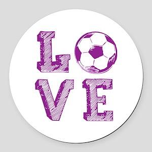 Girly Love Soccer Round Car Magnet