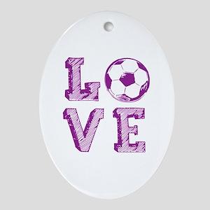 Girly Love Soccer Oval Ornament