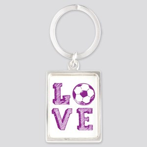 Girly Love Soccer Portrait Keychain