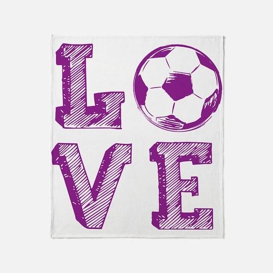 Girly Love Soccer Throw Blanket