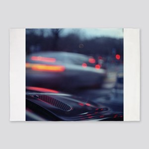 City lights cars in street at dusk 5'x7'Area Rug